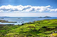Panorama of the coast of the Ring of Kerry, Ireland.