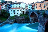 Vecchio bridge over the Dora Baltea river. Roman bridge. Ivrea. Italy.