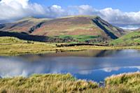 Tewet Tarn and Lonscale Fell beyond in the English Lake District National Park, Cumbria, England.