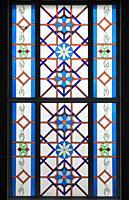 Kazakhstan; Astana; Hazrat Sultan Mosque, interior, window,.