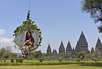 mobile lifting chair, tourist attraction at Prambanan Temple Compounds, region of Yogyakarta, Java island, Indonesia, Southeast Asia.