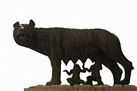 Italy, Rome. place of Michelangelo, the Capitoline Louve is a bronze sculpture, It is a symbol associated with the legend of Romulus and Remus and the...
