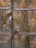 Detail of entrance door of Sant Jaume de Frontanyà Church. Berguedà region, Barcelona province, Catalonia, Spain.