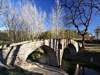 Romanesque bridge over Gavarresa stream. Sant Martí d'Albars village neighborhood. Lluçanès region, Barcelona province, Catalonia, Spain.
