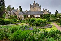 The formal Flower Garden south of Cawdor Castle after a rain in Cawdor Nairn Scotland UK.