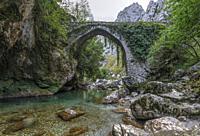 Puente La Jaya, Rio Cares, Picos de Europa, Asturias, Spain, Europe.