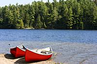 North America, Canada, Ontario, Algonquin Provincial Park, red canoes on shore beside lake.