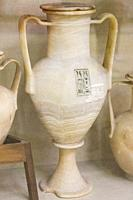 Egypt, Cairo, Egyptian Museum, Tutankhamon alabaster, from his tomb in Luxor : Large amphora, with 2 handles, showing the cartouches of Tutankhamon.