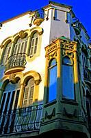 windows and modernist gallery of the Quintana House, Caldes de Malavella, Catalonia, Spain