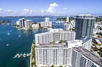Florida, Miami Beach, Biscayne Bay, aerial overhead bird's eye view above, Flamingo South Beach condominium, high rise buildings, boats, water waterfr...