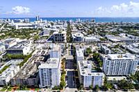 Florida, Miami Beach, aerial overhead bird's eye view above, Lincoln Road, city skyline, Atlantic Ocean,