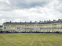 Grade I listed Georgian houses on the Royal Crescent, Bath, Somerset, England, UK. The Royal Crescent is an iconic landmark in the city of Bath, Engla...