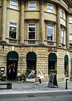 Exterior of The Ivy Bath Brasserie on Milsom Street, Bath, Somerset, England, UK.