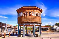 The refurbished water tower in the railyard art district of Santa Fe, New Mexico.