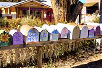 Crazy wild painted mail boxes on highway NM-14 in dowtown Madrid, New Mexico.