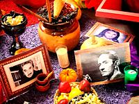 An altar decorated with deceased people decorates an altar during Day of the Dead in Coyoacan, Mexico