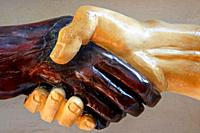sculpture of hands intertwined in the Serenissima Grand National Lodge, Cartagena de Indias, Colombia