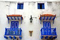 balconies and blue windows, Cartagena de Indias, Colombia