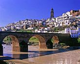 Panoramic view with Puente de las Donadas over Guadalquivir river, Montoro, Cordoba province, Region of Andalusia, Spain, Europe.