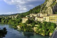 Sisteron, Provence, France, houses at the riverside of the Durance.