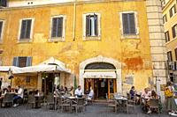 Enjoying a coffee at a cafe in Rome,Italy