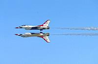 """""""""""The Thunderbirds"""". US Air Force Acrobatic Team. . The Thunderbirds are the air demonstration squadron of the United States Air Force (USAF), bas..."