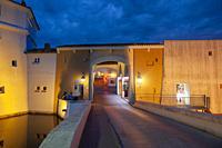 City wall at the bridge Pont de la Poteme, Port Grimaud, Var, Provence-Alpes-Cote d`Azur, France, Europe.