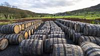 View of whisky barrels at Lindores Abbey Distillery in Newburgh, Fife, Scotland, UK.