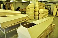 Zürich city: the social department workers in Tramont at Oerlikon is producing coffins for poor people's funeral.