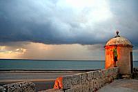 minaret of the defense wall at dusk, Cartagena de Indias, Colombia