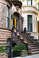 New York City, Manhattan, Upper West Side. Brownstone Townhouse Stairway and Entry.
