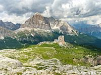 Peaks of Tofane and the Cinque Torri (foreground) in the dolomites of Cortina d'Ampezzo. Tofane are part of the UNESCO world heritage the dolomites. E...