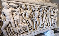 Detail of reliefs on a Roman period, marble sarcophagus depicting the life of Achillies, first half of the 3rd century AD. Capitoline Museums. Rome, I...