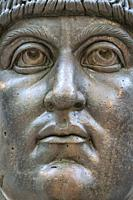 The colossal bronze head of Constantine the Great in the Palazzo dei Conservatori, part of the Capitoline Museums, Rome, Italy.