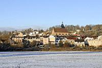 Village of Epernon in the snow, Eure-et-Loir department, Centre-Val de Loire region, France, Europe.