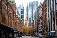 Sydney, New South Wales, Australia - A view of York Street in the central business district of the Australian metropolis with the Queen Victoria Build...