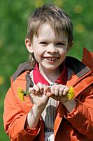 Young boy enjoy summer time in the dandelion meadow.