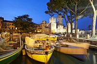 The port and the scaliger castle of Sirmione, Brescia province, Italy.