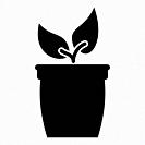 Flowerpot or pot with plant icon black color vector illustration flat style simple image