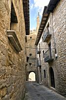 Historical medieval street with balconies in Sos del Rey Catolico. Zaragoza. Aragon. Spain. Europe.