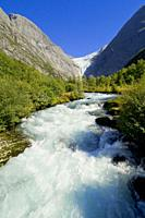 Briksdal Glacier River, Jostedalsbreen National Park, Norway, Scandinavia, Europe.