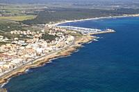 Aerial view of the South Coast of the island of mallorca, Balearic Island, Spain. .
