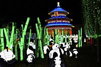 France, Tarn, Gaillac, Festival des lanternes (Chinese Lantern Festival), Pandas and temple od sky. . The festival celebrates Chinese culture originat...