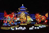 France, Tarn, Gaillac, Festival des lanternes (Chinese Lantern Festival), Qilin, mythical animals, half dragon, half lion, and temple of Sky. . The fe...