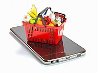 Smartphone and shopping basket with food and drink. Online grocery supermarket concept. 3d illustration.