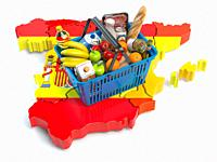 Market basket or consumer price index in Spain. Shopping basket with foods on the map of Spain. 3d illustration.