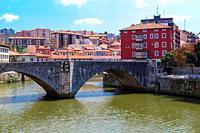 San Anton bridge is an arch bridge in Bilbao, Basque country. Spain.