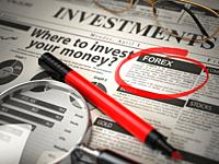 FOREX is the best option to invest. Where to Invest concept, Investmets newspaper with loupe and marker. 3d illustration.