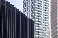 Modern buildings in new business quarter, Europa square in Hospitalet de Llobregat, close to Fira Barcelona, Catalonia.