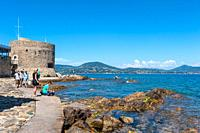Tourists at the Tour du Portalet tower, Saint-Tropez, Var, Provence-Alpes-Cote d`Azur, France, Europe.